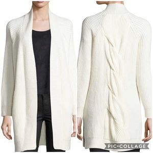 1. State Open Front Cable Back Off White Cardigan